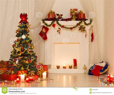 Christmas Room Interior Design, Xmas Tree Decorated By