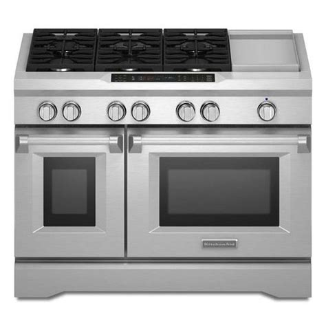 kitchenaid range shop kitchenaid 48 in 6 burner 4 1 cu ft 2 2 cu ft self