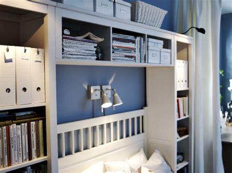 hemnes bookcases  bridging shelf surrounding  bed