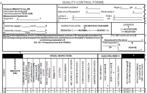 quality control forms  microsoft word  excel