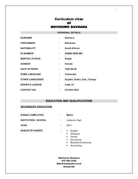 Curriculum Vitae Template Pdf South Africa by Davhana N Cv