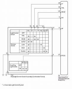 Toyota 4runner  Headlight Dimmer Switch Circuit