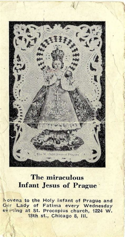 The Miraculous Infant Jesus Of Prague Vintage Holy Cards