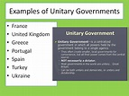 Examples - Unitary Government System
