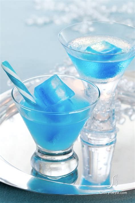 icy blue curacao cocktail recipe ice cubes cocktails