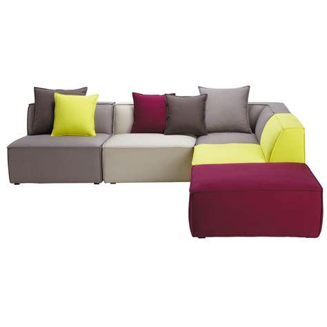 canapé d angle maison du monde canapé d 39 angle modulable 5 places en coton multicolore