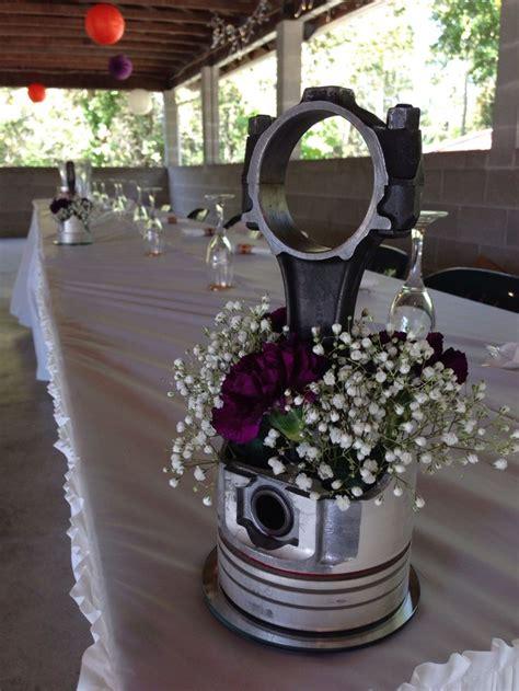 #piston #centerpiece #flowers #automotive #weddingcenterpiece #wedding   Cars   Pinterest