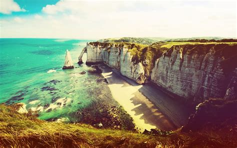 photography nature sea coast cliff etretat france
