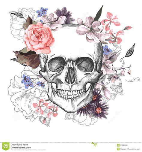 skull  flowers day   dead stock vector illustration  death rose