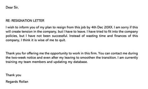 sample resignation letters  job    good fit