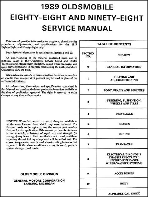 free car repair manuals 1994 oldsmobile 98 free book repair manuals 1989 oldsmobile 88 royale ninety eight regency repair shop manual original