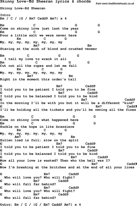 Skinny Love Piano Sheet Music Pdf  Love Song Lyrics For Skinny Ed Sheeran With Chords Birdy
