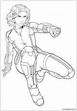 Widow Avengers Coloring Cartoons Adults sketch template