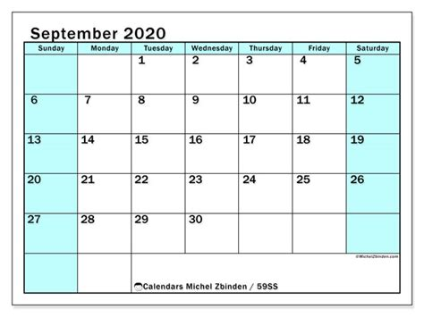 calendar september  ss michel zbinden en