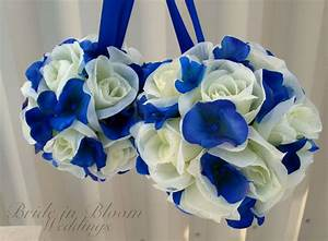 Wedding Pomanders White Royal Blue Wedding Flower Balls Flower
