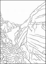Coloring Outdoors Landscapes Nature Grand Wild Wilderness Canyon Desert Pdf Wildlife Mountains sketch template