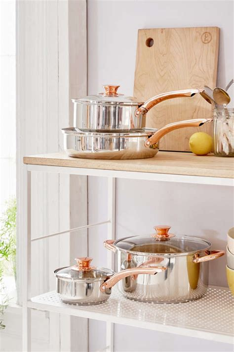 piece copper trimmed cookware set urban outfitters