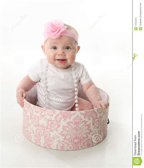Pretty Baby Sitting In A Hatbox Stock Photo  Image 17727414