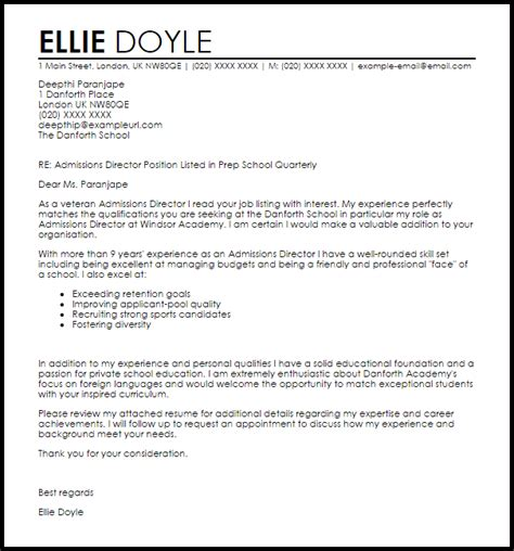 cover letter  director  admissions sample cover
