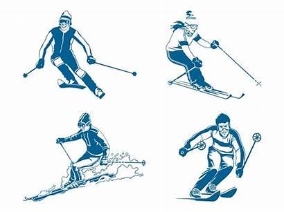 Vector Skiers Skier Clipart Skis Ski Skiing