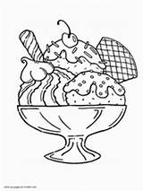 Coloring Ice Cream Printable Sundae Sheets Portion Clipart Cones Pie Eskimo Popsicle sketch template