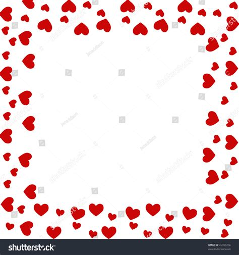 red hearts valentine border isolated  stock illustration