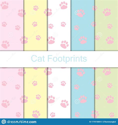 Seamless Cat Footprints Pattern Background, Vector Cat Paw ...