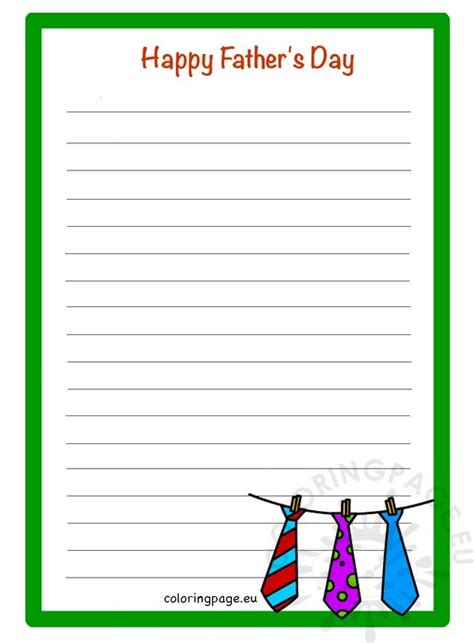 fathers day printable writing paper coloring page