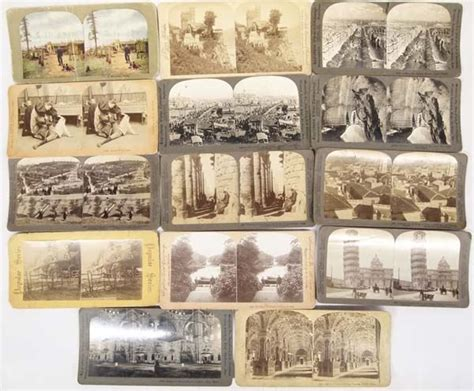 Stereo view cards price / value guide: Collection of 14 Antique Stereoscope Cards