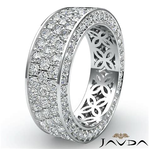 3 row womens anniversary band 14k white gold pave eternity ring diamond 2 75ct ebay