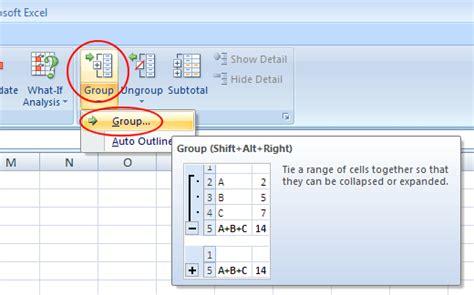 group rows  columns   excel worksheet