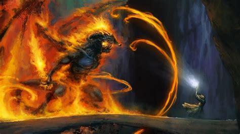 wizard balrog gandalf fire demons bridges the lord