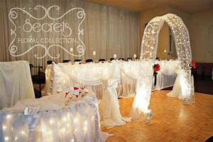 White Sheer Backdrop, Head Table, Ceremony (or Cake Table