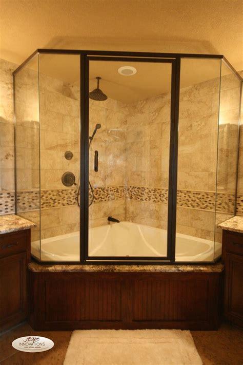 nice corner shower  bathtub combo  glass shower