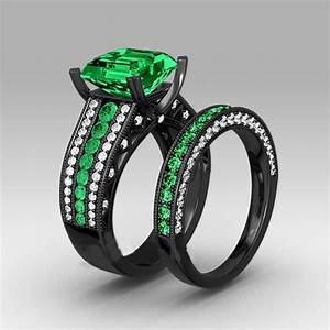 green cubic zirconia black plated women39s black gold With womens black wedding rings
