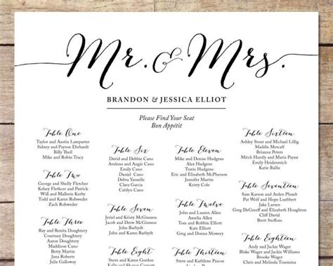 Free Printable Wedding Seating Chart Template by Simple Wedding Seating Chart Wedding