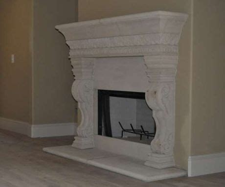 handmade cast stone fireplace mantel surround  southern
