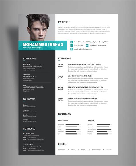 modern resume cv design template psd file good resume