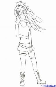 Easy Anime Pencil Drawing Girl Full Body - Drawing Of Sketch