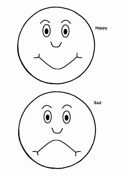 Emotions Sad Happy Coloring Face Pages Faces