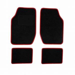 4 tapis de voiture universels moquette spot noir ganse With tapis auto rouge