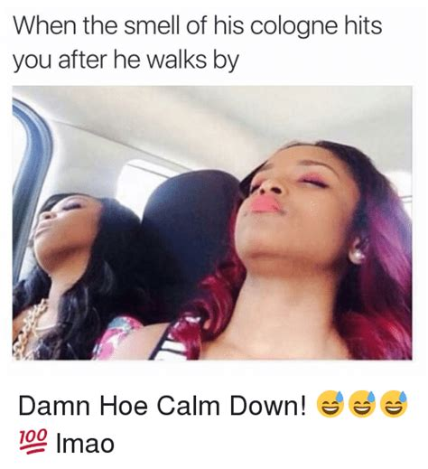 Cologne Meme - when the smell of his cologne hits you after he walks by damn hoe calm down lmao hoe
