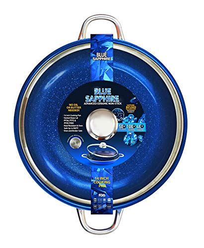 blue sapphire frying pan    tempered glass lid  stick induction base