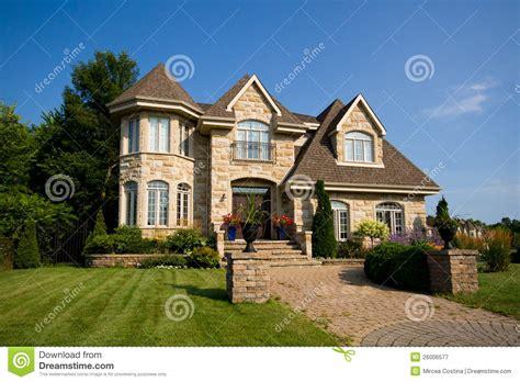 big house stock image image  front garage landscaping