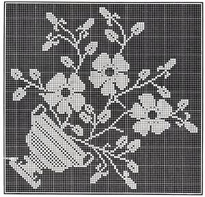 Victorian Filet Crochet Pattern Floral Tea Table Cloth