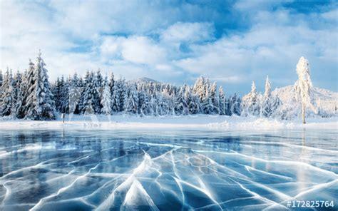 blue ice  cracks   surface   ice frozen lake