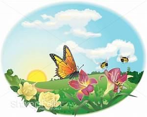 Wedding Powerpoints Spring Garden Scene Butterfly Clipart