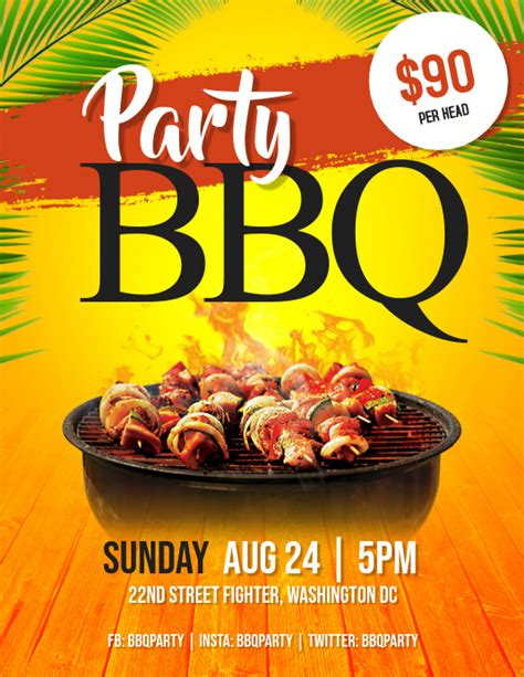 barbeque bbq party flyer template postermywall