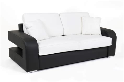 canapé couchage permanent canape convertible couchage 140 cm alban wilma noir