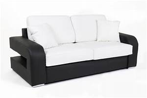 Canape convertible couchage 160 cm alban wilma noir for Tapis chambre enfant avec canape convertible blanc cuir